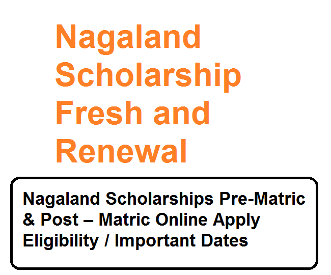 Nagaland Scholarship Application form for Fresh and Renewal