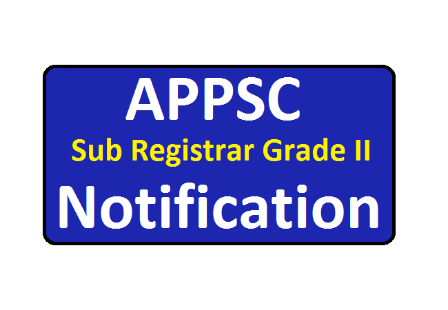 APPSC Sub Registrar Grade II Notification 2020