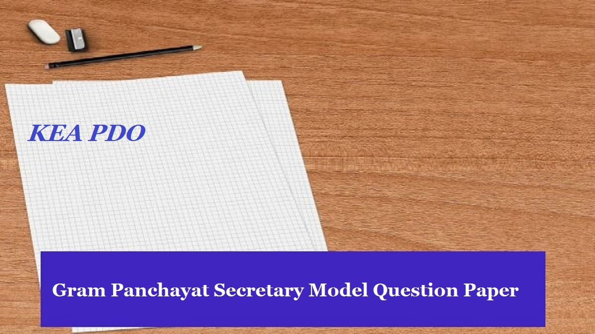 KEA PDO Gram Panchayat Secretary Model Question Paper 2020